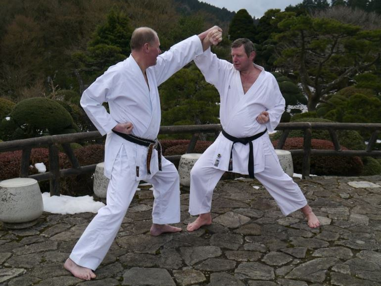 Dojo instructors Mark Turner and Ron Ashby in Japan
